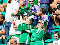28th August 2021;  Easter Road , Leith, Edinburg, Scotland; Scottish Premier League football, Hibernian versus Livingston; Hibs fans get behind their team before kick off
