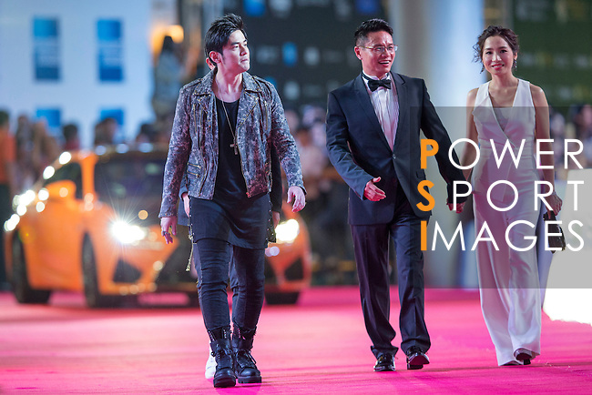 Singer Jay Chou, Ken Chu and his wife Audrey walk the Red Carpet event at the World Celebrity Pro-Am 2016 Mission Hills China Golf Tournament on 20 October 2016, in Haikou, China. Photo by Victor Fraile / Power Sport Images