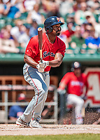 31 May 2018: Portland Sea Dogs first baseman Josh Ockimey at bat against the New Hampshire Fisher Cats at Northeast Delta Dental Stadium in Manchester, NH. The Sea Dogs rallied to defeat the Fisher Cats 12-9 in extra innings. Mandatory Credit: Ed Wolfstein Photo *** RAW (NEF) Image File Available ***