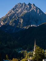 spätgotische Kirche  St. Georg  Unterdorf, Scuol, Unterengadin, Graubünden, Schweiz, Europa<br /> late Gothic Church St. George, Scuol Unterdorf,  Scuol Valley, Engadine, Grisons, Switzerland