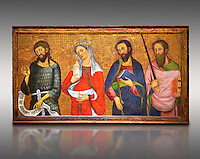 Painted Gothic panels from the Altarpiece of the Virgin of the Angels.<br /> From Left - San John the Baptist, Santa Mary Magdele, St. James the Less, St. Paul.Tempera and gold leaf on wood, circa 1385 by by Pere Serra  from the Cathedral of Tortosa (Tarragona). Inv MNAC 3950, 3948, 3949. National Museum of Catalan Art (MNAC), Barcelona, Spain