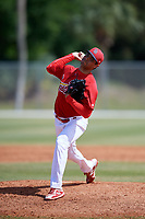 St. Louis Cardinals pitcher Hector Mendoza (16) during a Minor League Spring Training game against the Miami Marlins on March 26, 2018 at the Roger Dean Stadium Complex in Jupiter, Florida.  (Mike Janes/Four Seam Images)