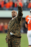 CHARLOTTESVILLE, VA- NOVEMBER 12: Head coach Mike London of the Virginia Cavaliers signals to the fans during the game against the Duke Blue Devils on November 12, 2011 at Scott Stadium in Charlottesville, Virginia. Virginia defeated Duke 31-21. (Photo by Andrew Shurtleff/Getty Images) *** Local Caption *** Mike London