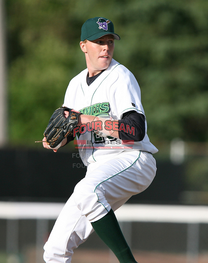 Mark Badgley of the Jamestown Jammers, Class-A affiliate of the Florida Marlins, during New York-Penn League baseball action.  Photo by Mike Janes/Four Seam Images