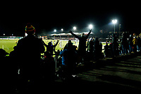 A silhouette of a supporter as he celebrates Newport County's Padraig Amond goal in the first half of the Sky Bet League Two match between Newport County and Crawley Town at Rodney Parade, Newport, Wales, UK. 19 January 2018