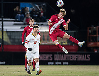 COLLEGE PARK, MD - NOVEMBER 15: Aidan Morris #8 of Indiana goes up for a header during a game between Indiana University and University of Maryland at Ludwig Field on November 15, 2019 in College Park, Maryland.