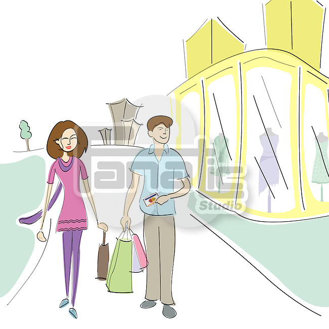 Couple walking on the road with shopping bags