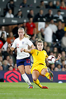 Stephanie Catley of Australia Women tackles Beth Mead of England Women during the Women's international friendly match between England Women and Australia at Craven Cottage, London, England on 9 October 2018. Photo by Carlton Myrie / PRiME Media Images.