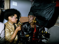File Photo -  Grace Jones<br />  and Eartha Kitt,  in the eighties. Exact date unkonwn.<br /> most like shot a club 1234 de La Montagne, aka, l'ESPRIT.<br /> <br /> <br /> photo  : Harold Beaulieu<br />  -  Agence Quebec Presse