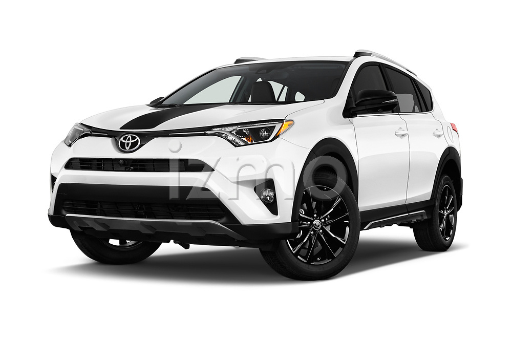 Stock pictures of low aggressive front three quarter view of a 2018 Toyota RAV4 Adventure 5 Door SUV
