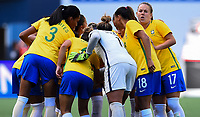 Seattle, WA - Thursday July 27, 2017: Brazil  during a 2017 Tournament of Nations match between the women's national teams of the Japan (JAP) and Brazil (BRA) at CenturyLink Field.
