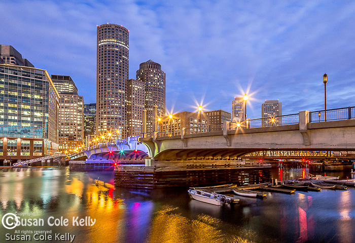 The Evelyn Moakley Bridge spans the Fort Point Channel in Boston, Massachusetts, USA