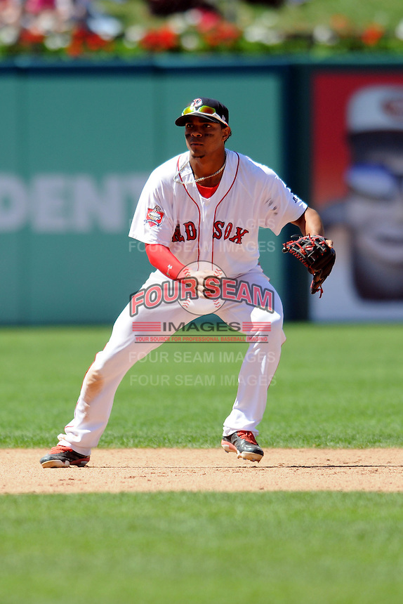 Pawtucket Red Sox shortstop Xander Bogaerts #15 during a game versus the Louisville Bats at McCoy Stadium in Pawtucket, Rhode Island on August 14, 2013.  (Ken Babbitt/Four Seam Images)
