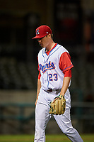 Stockton Ports relief pitcher Sam Sheehan (23) walks off the field between innings of a California League game against the Rancho Cucamonga Quakes at Banner Island Ballpark on May 16, 2018 in Stockton, California. Rancho Cucamonga defeated Stockton 6-3. (Zachary Lucy/Four Seam Images)