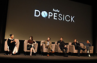 """NEW YORK CITY - OCTOBER 5: (L-R) Rosario Dawson, Kaitlin Dever, John Hoogenakker, Will Poulter, Peter Sarsgaard, and Michel Keaton attend a SAG Screening of Hulu's """"DOPESICK"""" at the Museum of Modern Art on October 5, 2021 in New York City. . (Photo by Frank Micelotta/Hulu/PictureGroup)"""