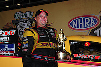 Jul. 1, 2012; Joliet, IL, USA: NHRA  funny car driver Jeff Arend celebrates after winning the Route 66 Nationals at Route 66 Raceway. Mandatory Credit: Mark J. Rebilas-