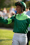 ARLINGTON HEIGHTS, IL - AUGUST 11: Jockey John Velazquez in the paddock prior to winning the $600,000 Grade I Beverly D Stakes at Arlington Park on August 11, 2018 in Arlington Heights, Illinois. (Photo by Carson Dennis/Eclipse Sportswire/Getty Images)