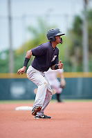 GCL Yankees East third baseman Asdrubal Alvarez (1) leads off second base during the second game of a doubleheader against the GCL Pirates on July 31, 2018 at Pirate City Complex in Bradenton, Florida.  GCL Pirates defeated GCL Yankees East 12-4.  (Mike Janes/Four Seam Images)