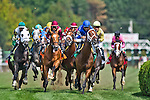 August 29, 2015 : Horses race to the first turn during a maiden race on the undercard on Travers Stakes Day at Saratoga Race Course in Saratoga Springs, NY. Scott Serio/ESW/CSM