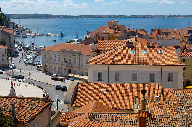 Tartini Square with roof tops of Piran , Slovenia