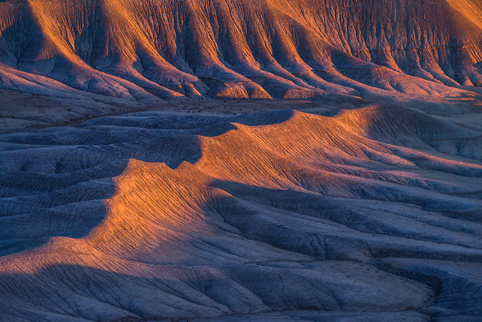 The ability of sand to separate light is amazing.  The tips of these formations glow when bathed in the day's first light, contrasted with the cool shadows below.