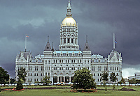 Hartford: Connecticut State Capitol, elevation. Richard M. Upjohn, completed 1879. Designed in 1872 at the height of the Gothic style. Photo '91.