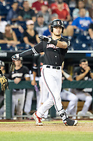Louisville Cardinals pinch hitter Zach Britton (34) strikes out during Game 12 of the NCAA College World Series against the Vanderbilt Commodores on June 21, 2019 at TD Ameritrade Park in Omaha, Nebraska. Vanderbilt defeated Louisville 3-2. (Andrew Woolley/Four Seam Images)