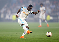 16th May 2018, Stade de Lyon, Lyon, France; Europa League football final, Marseille versus Atletico Madrid; Bouna Sarr of Marseille taking a shot at Atletico goal