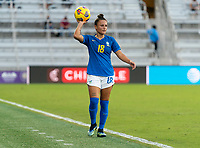 ORLANDO, FL - FEBRUARY 24: Camila #18 of Brazil throws the ball in during a game between Brazil and Canada at Exploria Stadium on February 24, 2021 in Orlando, Florida.