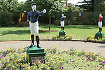 Breeder's Cup Park, with the lawn jockeys show thwe colors of the winners from the Breeder's Cup hosted in 2007 at Monmouth Park.  Curlin, winner of the Classic, is in the forground