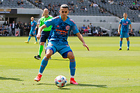 LOS ANGELES, CA - MAY 29: Jesús Medina #19 of NYCFC moves to the ball during a game between New York City FC and Los Angeles FC at Banc of California Stadium on May 29, 2021 in Los Angeles, California.