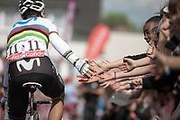 World Champion Alejandro Valverde (ESP/Movistar) pre race reaching out for high fives. <br /> <br /> 83th Flèche Wallonne 2019 (1.UWT)<br /> 1 Day Race: Ans – Huy 195km<br /> <br /> ©kramon