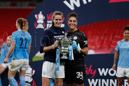 1st November 2020; Wembley Stadium, London, England; Womens FA Cup Final Football, Everton Womens versus Manchester City Womens; Jill Scott and Goalkeeper Karima Benameur Taieb of Manchester City Women posing with the  trophy