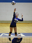 Marymount's Bri Fitzpatrick serves during a college volleyball match at Washington & Lee University Lexington, Vir., on Saturday, Oct. 5, 2013.<br /> Photo by Cathleen Allison