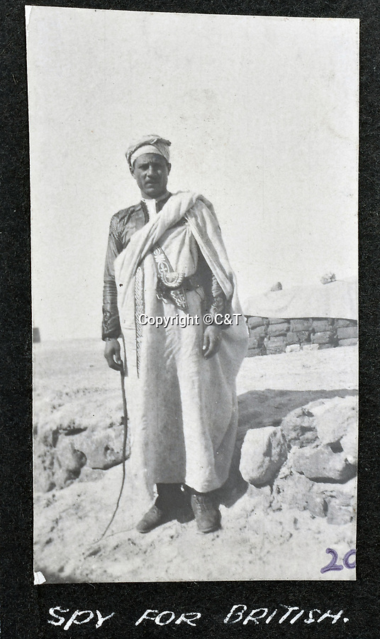 BNPS.co.uk (01202 558833)<br /> Pic: C&T/BNPS<br /> <br /> British spy - The little known Senussi campaign of January 1916.<br /> <br /> Never before seen photos of the disastrous Gallipoli campaign have come to light over a century later.<br /> <br /> The fascinating snaps were taken by Sub Lieutenant Gilbert Speight who served in the Royal Naval Air Service in World War One.<br /> <br /> They feature in his photo album which covers his eventful war, including a later stint in Egypt.<br /> <br /> There are dramatic photos of the Allies landing at X Beach, as well as sobering images of a mass funeral following the death of 17 Brits. Another harrowing image shows bodies lined up in a mass grave.<br /> <br /> The album, which also shows troops during rare moments of relaxation away from the heat of battle, has emerged for sale with C & T Auctions, of Ashford, Kent. It is expected to fetch £1,500.