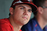 Third baseman Michael Chavis (11) of the Greenville Drive during a break in a game against the Greensboro Grasshoppers on Thursday, July 14, 2016, at Fluor Field at the West End in Greenville, South Carolina. Greenville won, 3-1. (Tom Priddy/Four Seam Images)