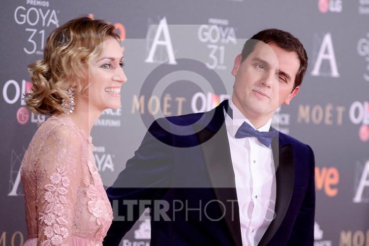 Beatriz Tajuelo and Albert Rivera attends to the Red Carpet of the Goya Awards 2017 at Madrid Marriott Auditorium Hotel in Madrid, Spain. February 04, 2017. (ALTERPHOTOS/BorjaB.Hojas)
