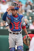 Robinson Chirinos (14) of the Round Rock Express during the Pacific Coast League game against the Oklahoma City RedHawks at Chickashaw Bricktown Ballpark on June 14, 2013 in Oklahoma City ,Oklahoma.  (William Purnell/Four Seam Images)