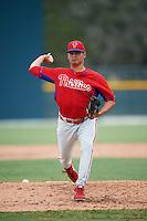 GCL Phillies relief pitcher Jordan Kurokawa (57) during a game against the GCL Pirates on August 6, 2016 at Pirate City in Bradenton, Florida.  GCL Phillies defeated the GCL Pirates 4-1.  (Mike Janes/Four Seam Images)