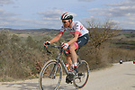 The tail enders climb sector 8 Monte Santa Maria during Strade Bianche 2019 running 184km from Siena to Siena, held over the white gravel roads of Tuscany, Italy. 9th March 2019.<br /> Picture: Seamus Yore   Cyclefile<br /> <br /> <br /> All photos usage must carry mandatory copyright credit (© Cyclefile   Seamus Yore)