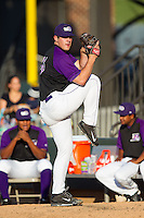 Winston-Salem Dash starting pitcher Carlos Rodon (26) warms up in the bullpen prior to the game against the Lynchburg Hillcats at BB&T Ballpark on August 13, 2014 in Winston-Salem, North Carolina.  The Hillcats defeated the Dash 4-3.   (Brian Westerholt/Four Seam Images)
