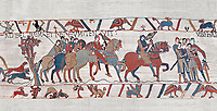 Bayeux Tapestry scene 8 : Guy de Ponthieu, holding falcon, escorts his prisoner, Harold, to Beaurain. BYX8