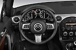 Steering wheel view of a 2010 Mazda Miata MX5