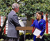 Judge Ruth Bader Ginsburg of the United States Court of Appeals for the District of Columbia, right, shakes hands with US President Bill Clinton, left, after he nominated her  to be Associate Justice of the Supreme Court in the Rose Garden of the White House in Washington, DC on June 14, 1993.  If confirmed, Judge Ginsburg will replace Associate Justice Byron R. White.<br /> Credit: Ron Sachs / CNP