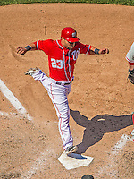 26 May 2013: Washington Nationals catcher Jhonatan Solano comes home to score in the bottom of the 7th inning against the Philadelphia Phillies at Nationals Park in Washington, DC. The Nationals defeated the Phillies 6-1, taking the rubber game of their 3-game weekend series. Mandatory Credit: Ed Wolfstein Photo *** RAW (NEF) Image File Available ***