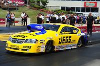 May 19, 2012; Topeka, KS, USA: NHRA pro stock driver Jeg Coughlin during qualifying for the Summer Nationals at Heartland Park Topeka. Mandatory Credit: Mark J. Rebilas-