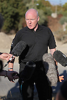 Pictured: South Yorkshire Police Detective Inspector Jon Cousins briefs the media at the second site in Kos, Greece. Friday 14 October 2016<br />Re: Police teams led by South Yorkshire Police are searching for missing toddler Ben Needham on the Greek island of Kos.<br />Ben, from Sheffield, was 21 months old when he disappeared on 24 July 1991 during a family holiday.<br />Digging has begun at a new site after a fresh line of inquiry suggested he could have been crushed by a digger.