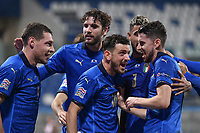 Jorginho of Italy celebrates after scoring a goal on penalty  during the Uefa Nation League Group Stage A1 football match between Italy and Poland at Citta del Tricolore Stadium in Reggio Emilia (Italy), November, 15, 2020. Photo Andrea Staccioli / Insidefoto