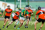 Jordan Brick, Kilmoyley in action against Colin Walsh, Ballyheigue during the Kerry Senior Hurling championship first round natch between Kilmoyley and Balluheigue on Friday.