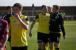 Arbroath 0 Edinburgh City 1, 15/03/2017. Gayfield Park, SPFL League 2. Visiting players celebrating Ryan Porteous' injury-time winner after the final whistle at Gayfield Park as Arbroath hosted Edinburgh City (in yellow) in an SPFL League 2 fixture. The newly-promoted side from the Capital were looking to secure their place in SPFL League 2 after promotion from the Lowland League the previous season. They won the match 1-0 with an injury time goal watched by 775 spectators to keep them 4 points clear of bottom spot with three further games to play. Photo by Colin McPherson.